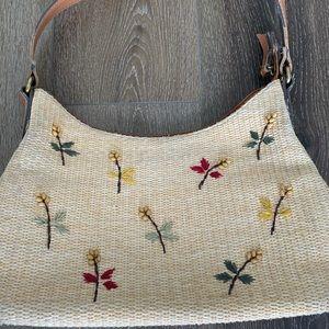 Fossil Handbag With Wicker Flower Pattern